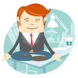 Office man meditating on his working desk Stock Images