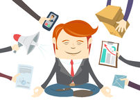 Office man meditating in the middle of busy workday Stock Images