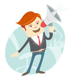 Office man megaphone shouting in front of his working place Royalty Free Stock Image