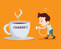 Office man need to power charge. Concept illustration of Office man needing a power charge. Man plugs in to coffee cup for charge Stock Photos