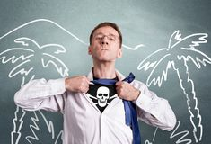 The office man opens a white shirt and shows a pirate symbol skull and bones. Against the background of drawings of palms. Hero royalty free stock images