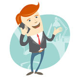 Office man phone talking in front of his working place. Vector Illustration of Office man phone talking in front of his working place Royalty Free Stock Photography
