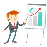 Office man presentating a graph on flipchart Royalty Free Stock Photos