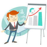 Office man presentating a graph on flipchart Stock Photo