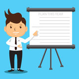 Office Man Presenting Plan Projector Royalty Free Stock Images