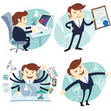 Office Man Set: Showing A Diploma, Happy Worker, Busy White Coll Stock Images