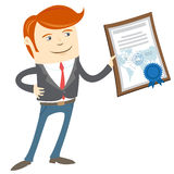 Office man showing a diploma Royalty Free Stock Image