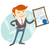 Office man showing a diploma Royalty Free Stock Photography