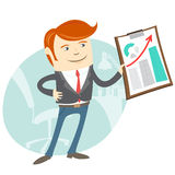 Office man showing a graph Royalty Free Stock Photos