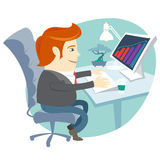 Office man sitting at his working desk royalty free illustration