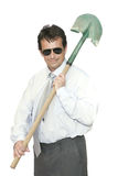 Office man with spadeful Royalty Free Stock Images