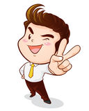 Office man victory action. Office man hand victory action Royalty Free Stock Images