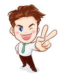 Office man victory. Office man hand victory action Royalty Free Stock Photography