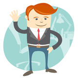 Office man waving in front of his working place stock illustration