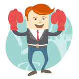Office man wearing boxing gloves in front of working place Stock Photo