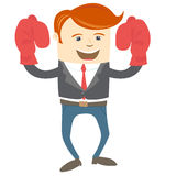 Office man wearing boxing gloves Royalty Free Stock Photos