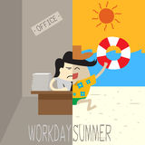 Office man working and half running on the beach Stock Photo