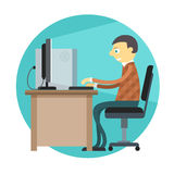 Office man working by personal computer Royalty Free Stock Photos