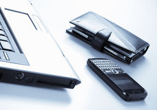 Office, management, planning. Computer, agenda, pen and mobile phone Royalty Free Stock Images