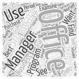An Office Management Software Buying Guide word cloud concept vector background Royalty Free Stock Photo