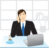 Office manager. Tolking by telephone stock illustration