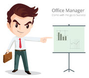 Office manager character. Vector of Business man character look so smart pointing graph go to success Royalty Free Stock Image