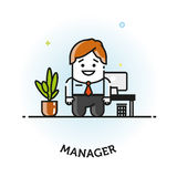 Office manager flat vector icon. Vector Man in Business Suit Icon Office manager flat vector icon logo design isolated Stock Photo