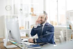Office manager with headset stock images