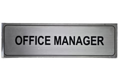 Office manager label. Isolated on a white background Royalty Free Stock Image