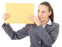 Office manager and large brown envelope Stock Photos