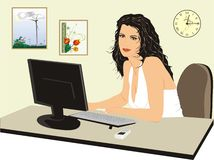 Office-manager near a computer. Beautiful girl. Vector Stock Photo