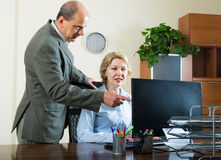 Office manager scolding secretary Royalty Free Stock Photo
