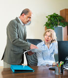 Office manager scolding secretary Royalty Free Stock Image