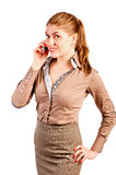 Office manager talks by phone Stock Photo