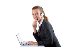 Office manager typing on the laptop isolated on Stock Images