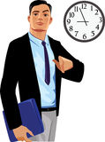 Office manager under clock Royalty Free Stock Photo