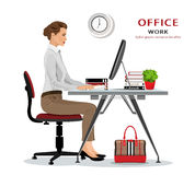 Office manager: woman sitting on chair, working and looking at computer screen. Businesswoman working. Vector illustration. Royalty Free Stock Photos