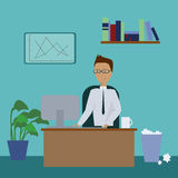 Office Manager. The manager works at the computer in an office Royalty Free Stock Image