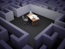 Office maze. An empty desk inside a maze Stock Photography