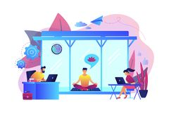 Free Office Meditation Booth Concept Vector Illustration. Royalty Free Stock Photos - 130825258