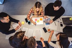 Office meeting from above. People working Stock Photos