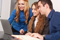 Office meeting. Business people on a briefing stock images