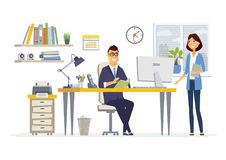 Office Meeting - modern vector cartoon business characters illustration Royalty Free Stock Photos