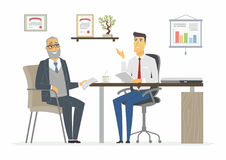 Office Meeting - modern vector cartoon business characters illustration. Office Meeting - vector illustration of a business situation scene. Cartoon people Royalty Free Stock Photo