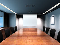 Office meeting room. Business meeting room in office with modern decoration. A projection screen is placed in the middle of the photo stock illustration