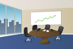 Office meeting room beige blue table chair window illustration Stock Photo
