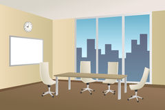 Office meeting room beige table chair window illustration Stock Image