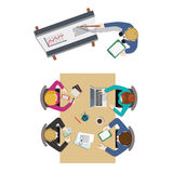 Office meeting room report flat vector 3d presentation Royalty Free Stock Photo