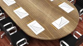 Office meeting room round desk Stock Photo