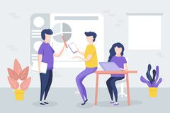 Office meeting, workers discuss the project, charts, graphics. vector illustration